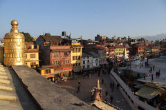 Sunset in Kathmandu. Sunset near stupa Bodnath in Kathmandu, Nepal Stock Photos