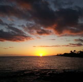 Sunset in Kauai Hawaii stock photos