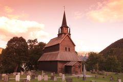 Sunset at Kaupanger Stave Church, Norway Royalty Free Stock Photos