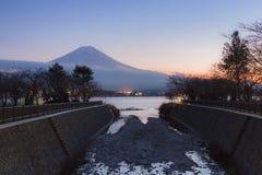 Sunset at Kawaguchi Lake with Mt.Fuji background stock images