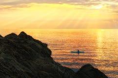 Sunset kayaking Stock Image