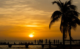 Sunset. In keywest with people Stock Images