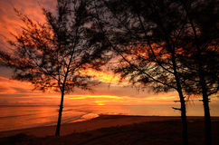 Sunset at Khao Lak beach Stock Images