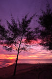Sunset at Khao Lak beach Stock Photo