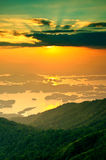 Sunset at Khaolaem-dam in Thailand Stock Images