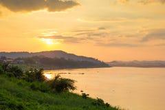 sunset at Khong river Royalty Free Stock Images