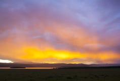 Sunset at Khovsgol Lake Stock Images