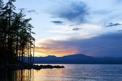 Sunset at Khovsgol Lake Stock Photos