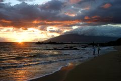 Sunset in Kihei, Hawaii. Standing on the Beach in Kihei, Maui Island, Hawaii, this a view of a sunset Royalty Free Stock Photo