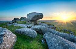 Sunset on Kilmar Tor Royalty Free Stock Photo
