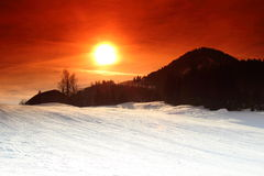 Sunset in Kirchberg, Tirol/Austria Stock Photography
