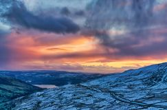 Sunset from the Kirkstone Pass in the English Lake District. Sunset from the Kirkstone Pass, a well known high level road, in the English Lake District Royalty Free Stock Image