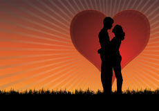 Sunset kiss. Abstract silhouettes of kissing couple with hart and sunset in background stock illustration