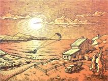 Sunset kite-surfing. Stock Photo