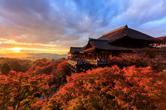 Sunset at Kiyomizu-dera Temple in Kyoto Stock Images