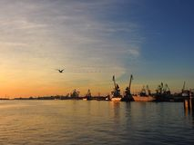 Sunset in Klaipeda harbour, Lithuania Royalty Free Stock Photos