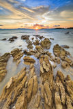 The Sunset at Klong Muang Beach in Krabi , Thailand. Royalty Free Stock Photos