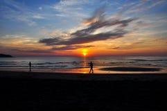 Sunset at Koh Kood. Sunset on sea beach with blue sky,Koh Kood, Thailand Stock Photo