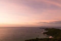 Sunset at  Koh Larn island  in Pattaya Stock Photo