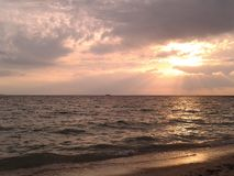 Sunset at the Koh Phangan beach in Thailand Stock Photography