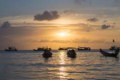 Sunset in Koh-Tao, Thailand. Beautiful sunset captured on the island of Koh-Tao in Thailand. Sairee Beach Stock Photography