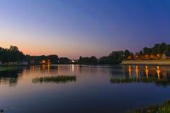 Sunset on Koltushi Lake royalty free stock photography