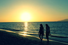 Sunset. On Kos with two girls Royalty Free Stock Image