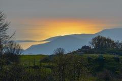 Sunset in Kotor bay, Montenegro Royalty Free Stock Photos