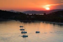 Sunset on Koukounaries beach at Skiathos Stock Photo
