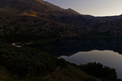 Sunset at Kournas lake, island of Crete Stock Photography