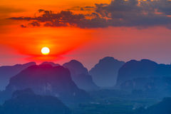 Sunset in Krabi mountains. Top view on sunset in mountains, Krabi, Thailand stock image
