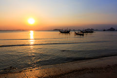 Sunset at Krabi. View of sunset at Krabi with boats background,Thailand Stock Images