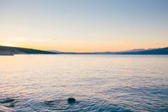 Sunset on krk island croatia Stock Images
