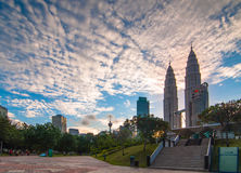 Before sunset at Kuala Lumpur. This beautiful scenery at beautiful building at Kuala Lumpur Royalty Free Stock Photos