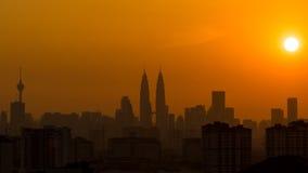 Sunset in Kuala Lumpur. Fiery sunset in Kuala Lumpur of Malaysia Royalty Free Stock Image