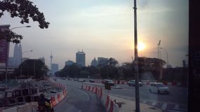 Sunset in Kuala Lumpur. Sunset at a junction in Kuala Lumpur, Malaysia Stock Photography
