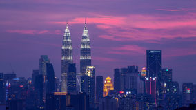 Sunset in Kuala Lumpur. Sunset over downtown Kuala Lumpur of Malaysia Royalty Free Stock Photos