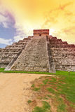 Sunset at Kukulkan pyramid in Chichen Itza stock photo