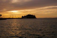 Sunset in Kusadasi,Turkey. Pigeon Island Castle during Sunset in Kusadasi,Turkey royalty free stock images