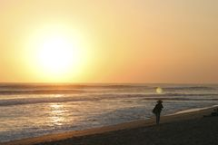 Sunset Kuta Beach Bali Royalty Free Stock Photo