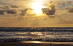 Sunset on Kuta beach in Bali Royalty Free Stock Photo