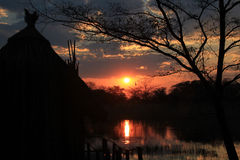 Sunset at Kwando River Stock Images
