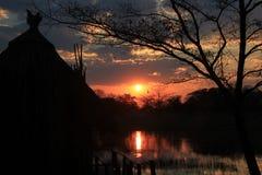 Sunset at Kwando River Stock Images