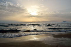 Sunset at Kyllini beach. In Ilia , Peloponnese ,Greece Royalty Free Stock Photo