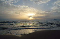 Sunset at Kyllini beach. In Ilia , Peloponnese ,Greece Royalty Free Stock Images