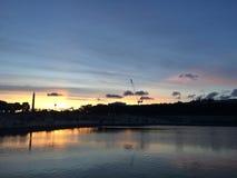 Sunset in La Concorde. Paris France Jardin des Tuileries Royalty Free Stock Images