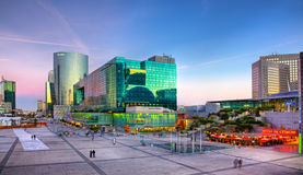 Sunset in La Defense. Paris, France- April 1st, 2012: Image at the sunset of the famous business district, La Defense,in the western part of Paris Stock Photography