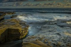 San Diego California Coastline in Spring. Sunset in La Jolla California USA stock images