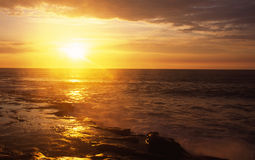 Sunset in La Jolla Cove. Sunset view at the coastal rocks in La Jolla Cove in San Diego stock photography