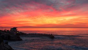 Sunset at the La Jolla cove, San Diego, California stock photo